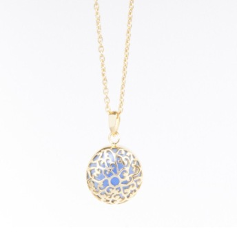 Gold EsmeLoves charm with Blue Chalcedony