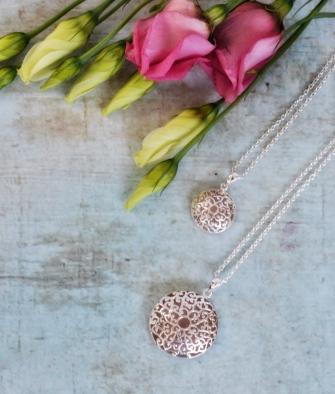silver necklace rose quartz